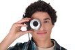 Young man with a webcam