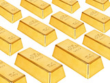 Gold bars on a white background