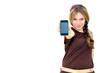 young woman displaying mobile phone