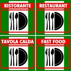 CARTELLO INDICATORE UBICAZIONE RISTORANTE TAVOLA CALDA FAST FOOD