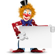 cheerful clown with a white placard
