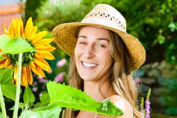 Woman standing in the garden