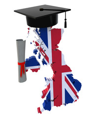 England maps with Graduation Cap and Diploma