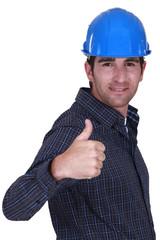 Builder giving ok gesture