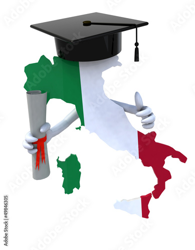 Italy maps with Graduation Cap and Diploma