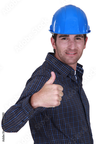 Builder giving ok gesture