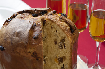 Close-up view of Italian Panettone
