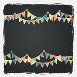 Cute greeting card with colorful childish bunting flags