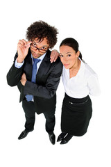 Young businesspeople on white background