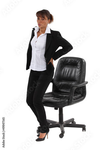 Businesswoman sat down for too long
