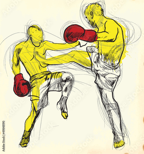Muay Thai (martial art from Thailand) - hand drawing into vector