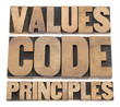 values, code, principles