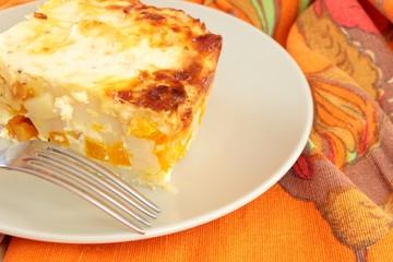 portion of pumpkin casserole