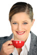 Blond woman with coffee cup