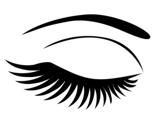 vector eye closed with long lashes