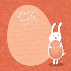 Easter bunny hold ornate easter egg on Floral background.