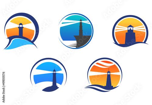 Colorful lighthouse symbols set - 49850576