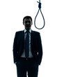man judge in front of  hangman noose silhouette