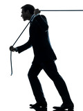 business man pulling a rope silhouette