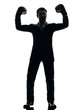 business man with boxing gloves  silhouette