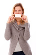 Happy woman close mouth with card