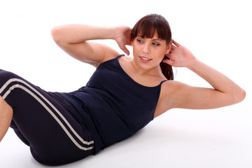Happy caucasian woman exercising