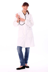 Beautiful woman in doctor's uniform