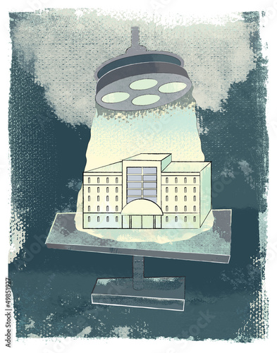Hospital or Corporate Building on the Examination Table Illustra
