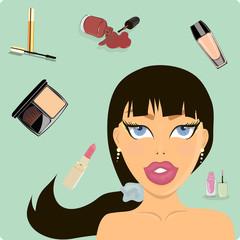 Beautiful girl. Makeup. Care. vector