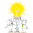 Geschäftsleute, Idee, Brainstorming, Glühbirne, Teamwork
