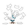 Geschäftsmann, Bürostuhl, Freude, Papier, Jubel