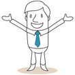 Geschäftsmann, glücklich, umarmen, erfolgreich