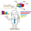 Geschäftsmann, Diagramme, Statistik, Wahlergebnisse