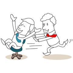 Geschäftsleute, Bürostuhl, Rennen, Bürostuhlrennen