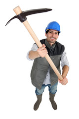 Man wielding pick-axe