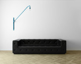 Minimal white luxury living room with black leather sofa