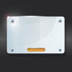 Transparent frame of plexiglass on black background.