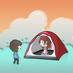 Two friends in a tent. Vector design.