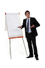 A businessman doing a presentation.