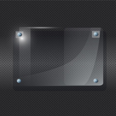 Transparent frame of Plexiglas on black background.