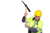 Angry construction worker holding a pickaxe