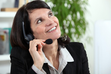 Businesswoman with a headset