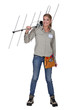 Woman with TV antenna