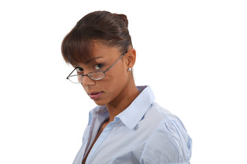 Brunette posing in glasses