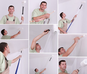 Montage of a man painting a room