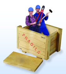 female and male construction workers in wooden box