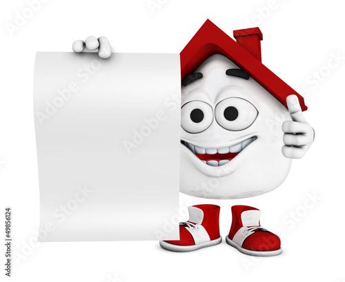 Kleines 3D Haus Rot mit blanko Schild