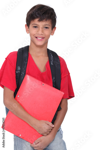 Young boy ready for school