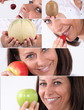 Montage of a woman eating fruit