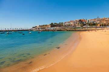 Beach, town and harbor of Cascais at summer, Portugal